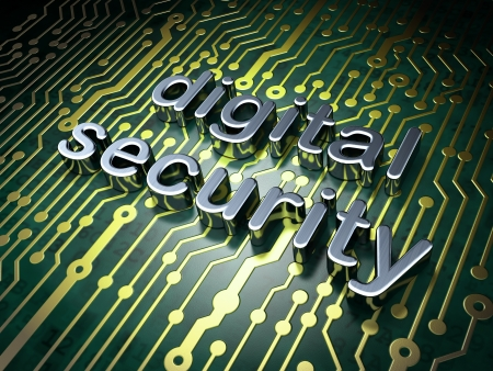 Safety concept  circuit board with word Digital Security, 3d render Stock Photo - 17549337