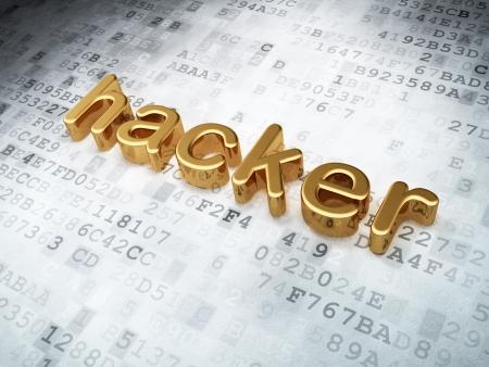 Security concept  Golden Hacker on digital background, 3d render Stock Photo - 17549486