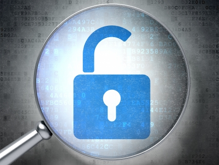 Magnifying optical glass with Opened Padlock icon on digital background, 3d render Stock Photo - 17549546