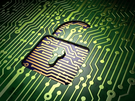 Privacy concept  circuit board with Opened Padlock icon, 3d render Stock Photo - 17549490