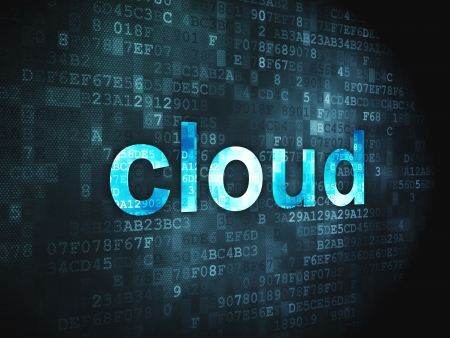 Cloud computing technology, networking concept  pixelated words Cloud on digital background, 3d render Stock Photo - 17549494