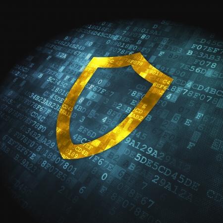 contoured: Concepto de protecci�n pixelada icono Shield contorneada en fondo digital, 3d render