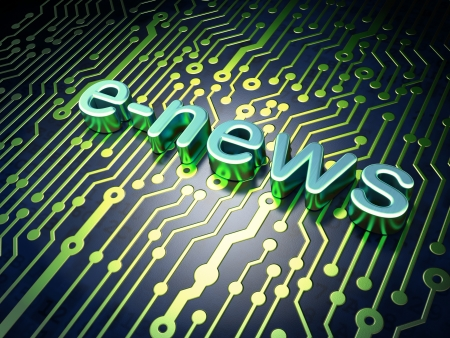 News concept  circuit board with word E-news, 3d render photo