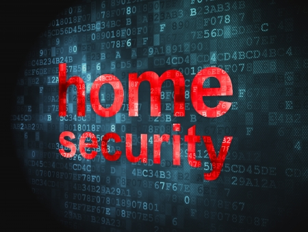 Safety concept  pixelated words Home Security on digital background, 3d render Stock Photo - 17549705