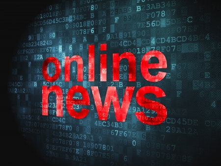 News concept  pixelated words Online News on digital background, 3d render Stock Photo - 17549695