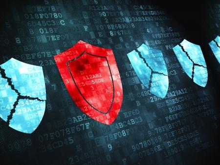 virus informatico: Concepto de privacidad pixelada icono en el fondo digital, 3d render