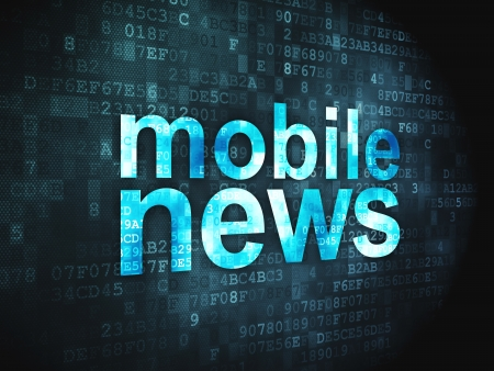 News concept  pixelated words Mobile News on digital background, 3d render Stock Photo - 17549689