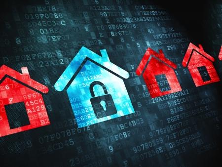 개인 정보 보호: 디지털 배경에 개인 정보 보호의 개념 픽셀 화 아이콘, 3 차원 렌더링