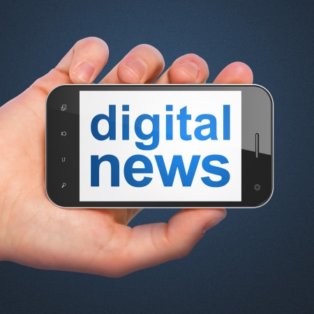 breaking news: News concept  hand holding smartphone with word Digital News on display  Generic mobile smart phone in hand on Dark Blue background  Stock Photo