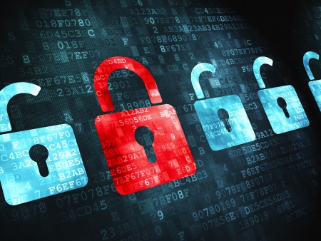 Protection concept  pixelated  icon on digital background, 3d render Stock Photo - 17549715