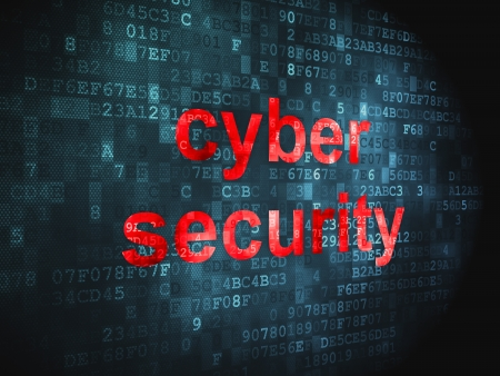 cyber crime: Security concept  pixelated words Cyber Security on digital background, 3d render Stock Photo
