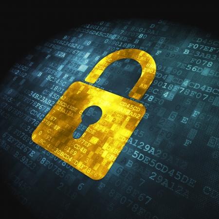 Concepto de seguridad pixelada icono de candado cerrado en fondo digital, render 3d