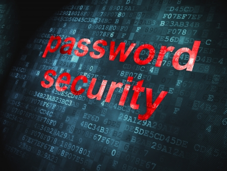 Security concept  pixelated words Password Security on digital background, 3d render Stock Photo - 17549726
