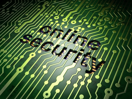 Security concept  circuit board with word Online Security, 3d render Stock Photo - 17549664
