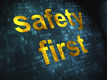 Privacy concept  pixelated words Safety First on digital background, 3d render Stock Photo - 17549724