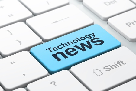 News concept  computer keyboard with word Technology News, selected focus on enter button, 3d render Stock Photo - 17549627