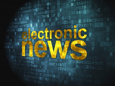 News concept  pixelated words Electronic News on digital background, 3d render Stock Photo - 17549708