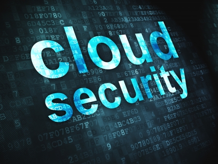 Cloud computing technology, networking concept  pixelated words Cloud Security on digital background, 3d render photo