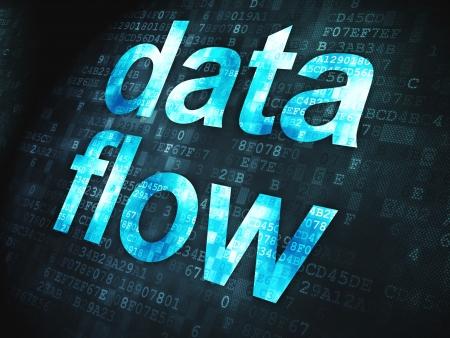 Information concept  pixelated words Data Flow on digital background, 3d render photo