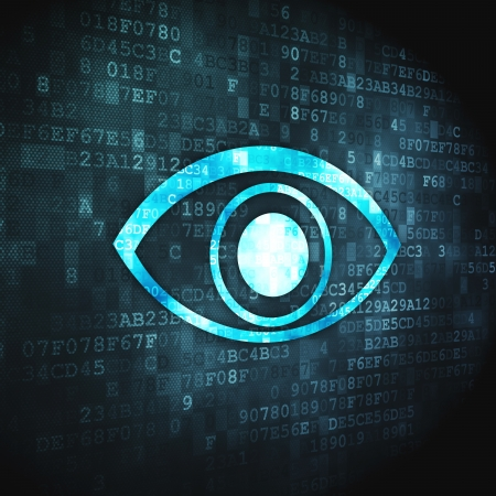 Privacy concept  pixelated Eye icon on digital background, 3d render Stock Photo - 17549887