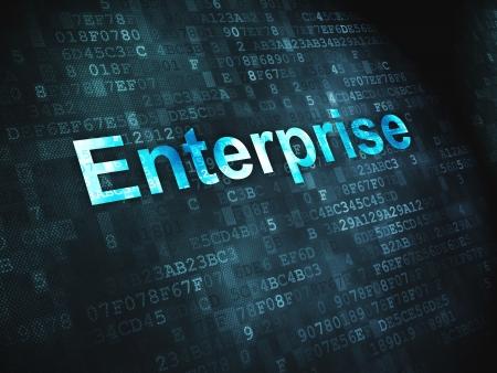 Business concept  pixelated words Enterprise on digital background, 3d render Stock Photo - 17549871
