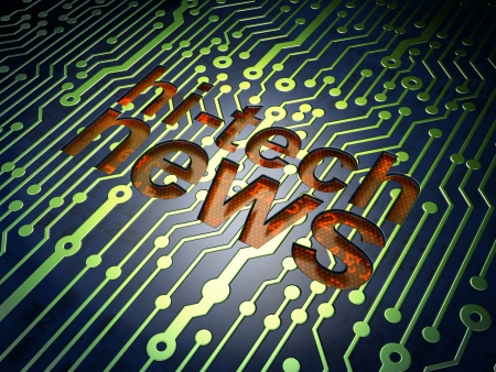 News concept  circuit board with word Hi-tech News, 3d render Stock Photo - 17549838