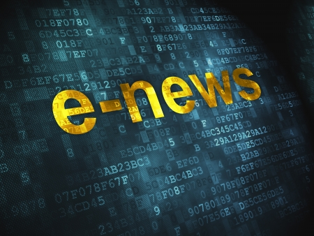 breaking news: News concept  pixelated words E-news on digital background, 3d render