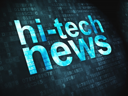 News concept  pixelated words Hi-tech News on digital background, 3d render Stock Photo - 17549878
