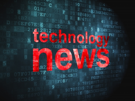 News concept  pixelated words Technology News on digital background, 3d render Stock Photo - 17549837