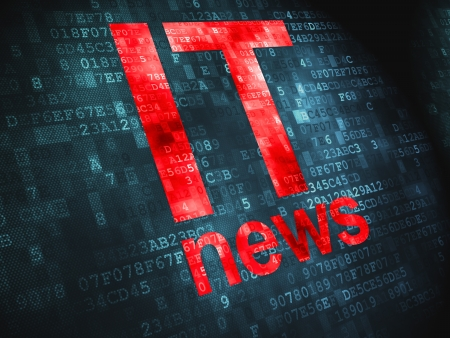News concept  pixelated words IT News on digital background, 3d render Stock Photo - 17549883