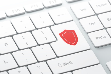 Protection concept  enter button with Shield on computer keyboard, 3d render, selected focus Stock Photo - 17549813