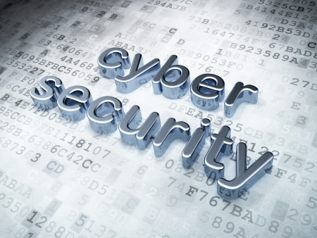 cyber: Privacy concept  Silver Cyber Security on digital background, 3d render Stock Photo