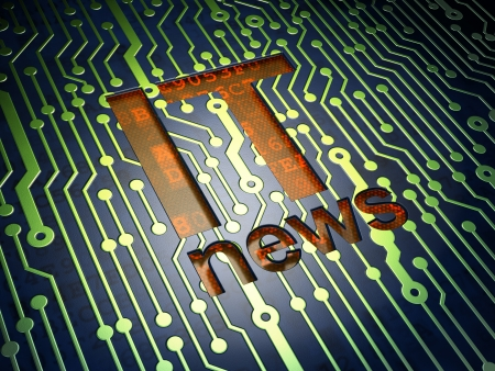 News concept  circuit board with word IT News, 3d render Stock Photo - 17549830