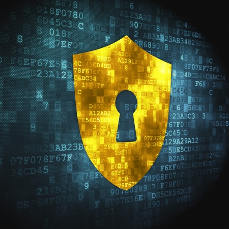 blue shield: Privacy concept  pixelated Shield With Keyhole icon on digital background, 3d render