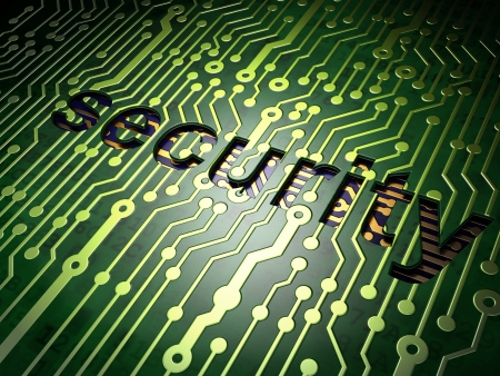 Privacy concept  circuit board with word Security, 3d render Stock Photo - 17549831