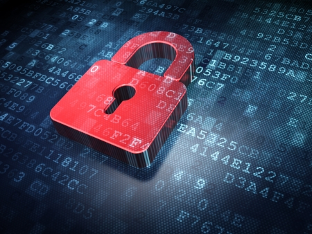 Privacy concept  Red Closed Padlock on digital background, 3d render photo