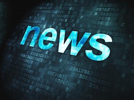 Noticias de palabras concepto pixelada en fondo digital, 3d render