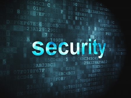 cyber crime: Protection concept  pixelated words Security on digital background, 3d render Stock Photo