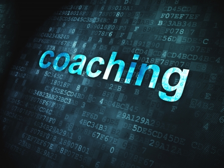 pixelated: Education concept  pixelated words Coaching on digital background, 3d render