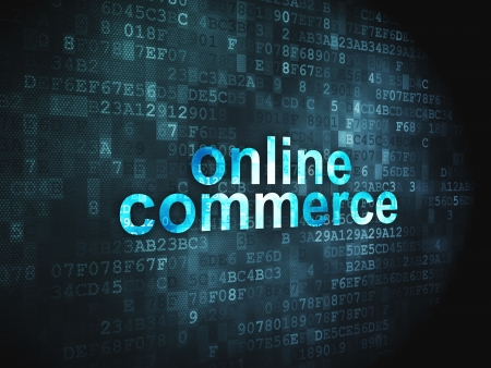 Business concept  pixelated words Online Commerce on digital background, 3d render Stock Photo - 17549828