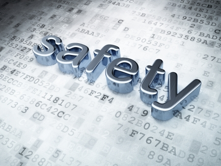 Security concept  Silver Safety on digital background, 3d render Stock Photo - 17549834