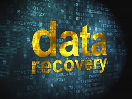Información concepto palabras pixelada de recuperación de datos en fondo digital, 3d render Foto de archivo