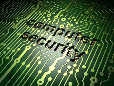 Protection concept  circuit board with word Computer Security, 3d render Stock Photo - 17549829