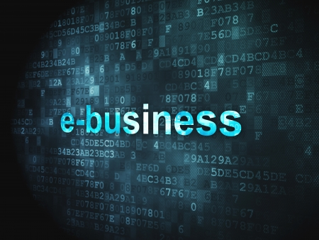 Business concept  pixelated words E-business on digital background, 3d render Stock Photo - 17549911
