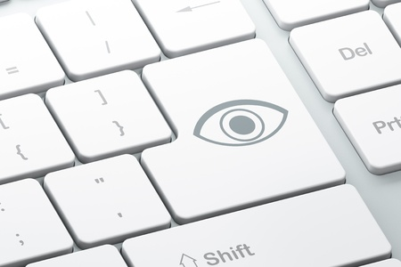 Protection concept  Enter button with Eye on computer keyboard, 3d render Stock Photo - 17549903