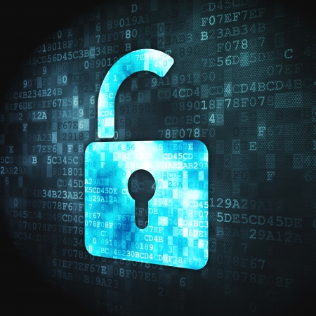 Security concept  pixelated Opened Padlock icon on digital background, 3d render Stock Photo - 17549924