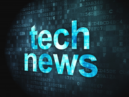News concept  pixelated words Tech News on digital background, 3d render Stock Photo - 17549914