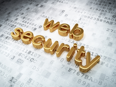 Protection concept  Golden Web Security on digital background, 3d render Stock Photo - 17549906