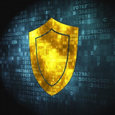 Concepto de seguridad pixelada icono del escudo en fondo digital, 3d render Foto de archivo