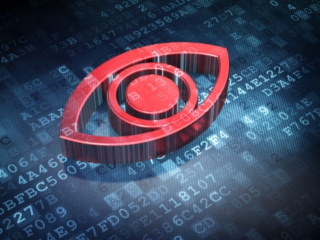 Security concept  Red Eye on digital background, 3d render Stock Photo - 17549907
